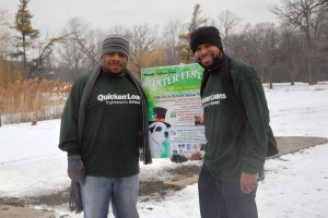 Quicken Loans volunteers Sean and Amir joined dozens of volunteers, several hundred attendees, and some 50 dogs at the Second Annual People for Palmer Park WinterFest and Doggie Fashion Parade on Saturday, Feb. 23, 2013. Photo by ©Barbara Barefield